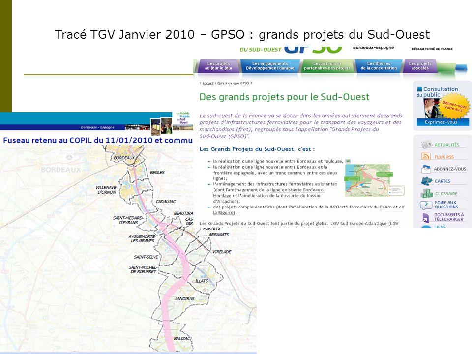 Tracé TGV Janvier 2010 – GPSO : grands projets du Sud-Ouest