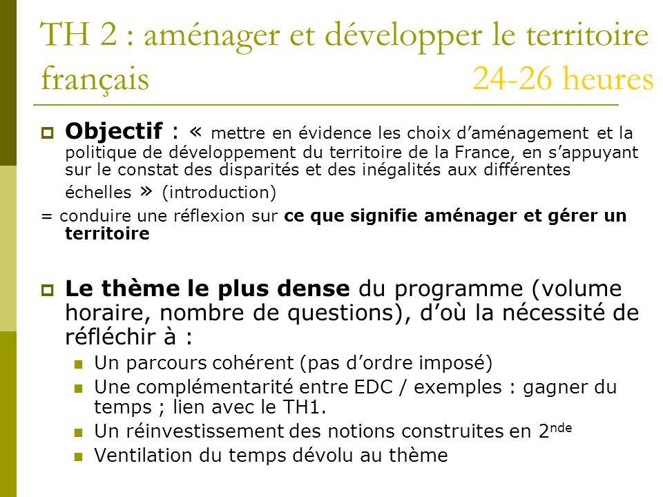 TH 2 : aménager et développer le territoire français 24-26 heures Objectif : « mettre en évidence les choix daménagement et la politique de développem