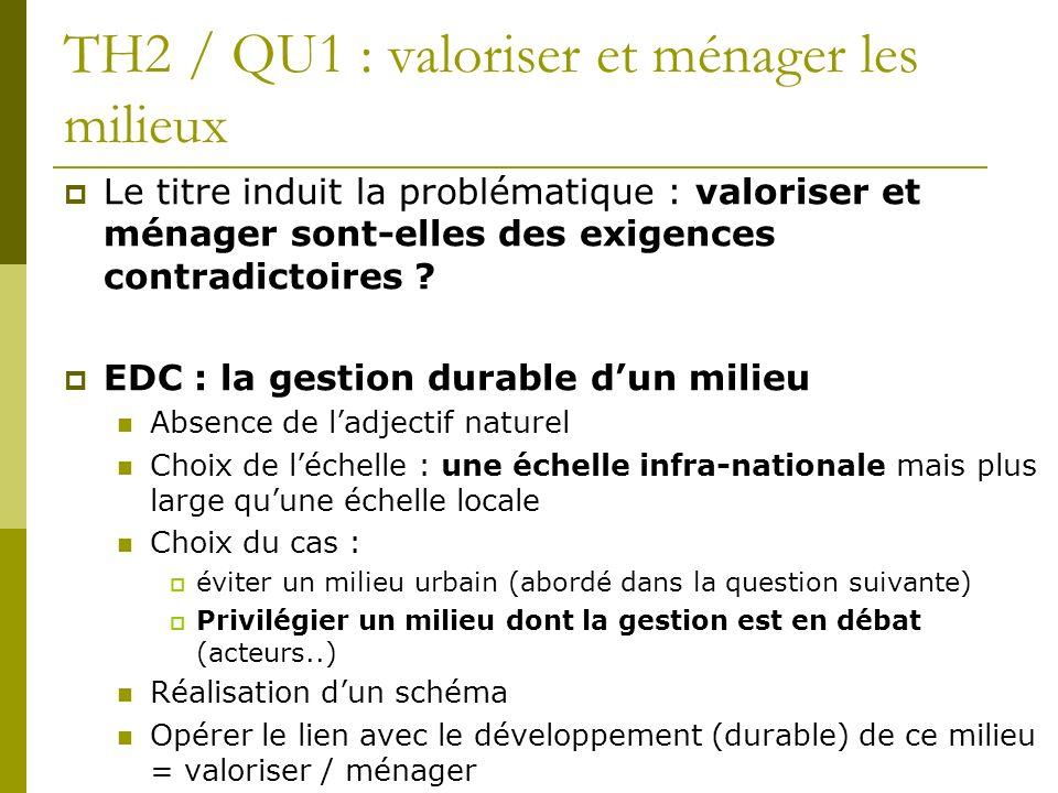 TH2 / QU1 : valoriser et ménager les milieux Le titre induit la problématique : valoriser et ménager sont-elles des exigences contradictoires ? EDC :