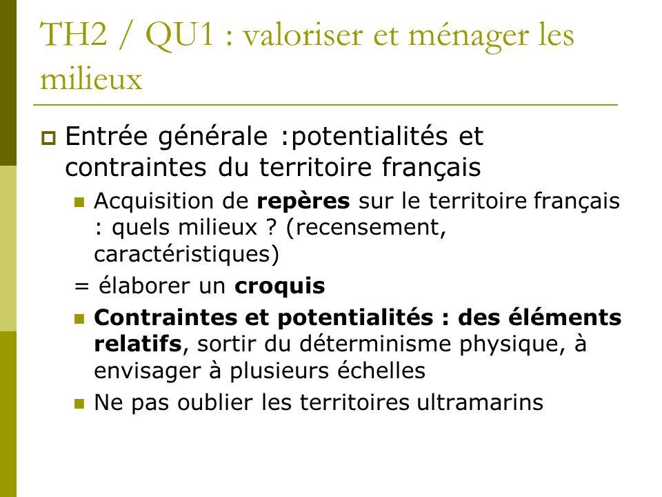 TH2 / QU1 : valoriser et ménager les milieux Entrée générale :potentialités et contraintes du territoire français Acquisition de repères sur le territ