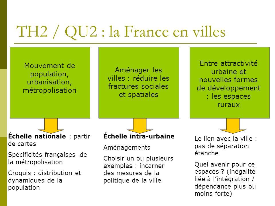 TH2 / QU2 : la France en villes Entre attractivité urbaine et nouvelles formes de développement : les espaces ruraux Aménager les villes : réduire les
