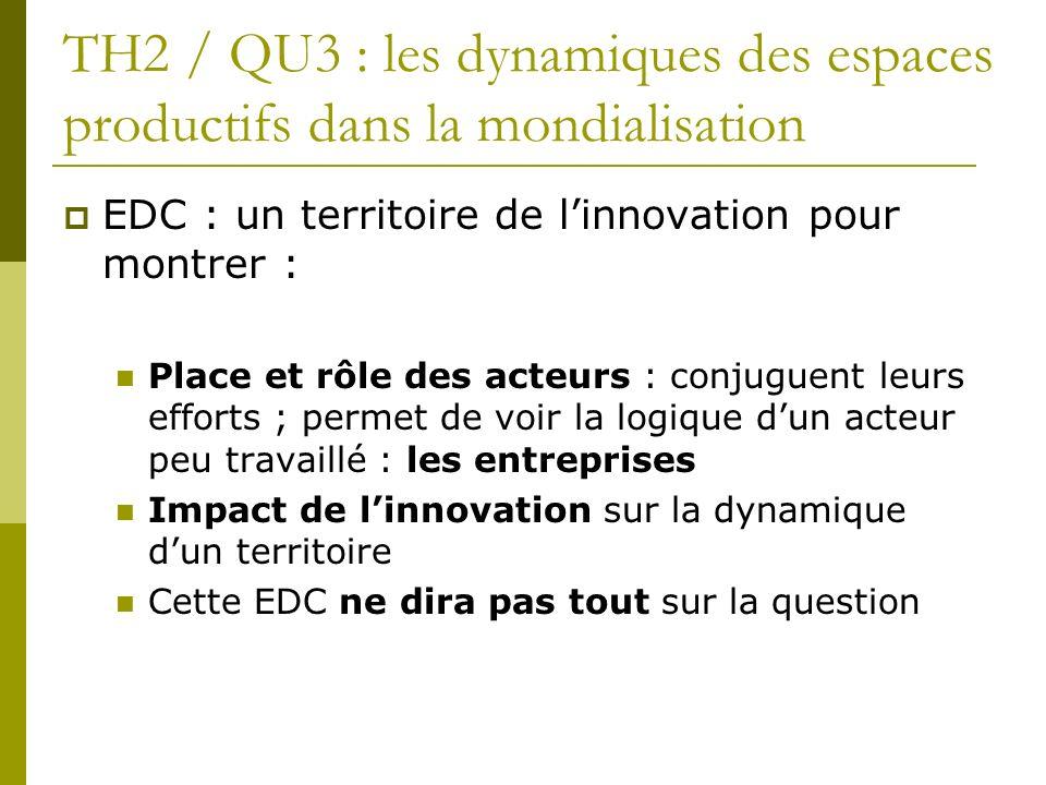 TH2 / QU3 : les dynamiques des espaces productifs dans la mondialisation EDC : un territoire de linnovation pour montrer : Place et rôle des acteurs :
