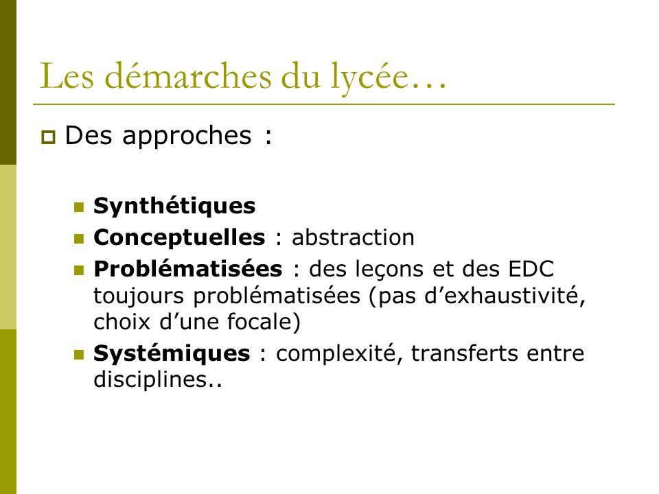 Les démarches du lycée… Des approches : Synthétiques Conceptuelles : abstraction Problématisées : des leçons et des EDC toujours problématisées (pas d