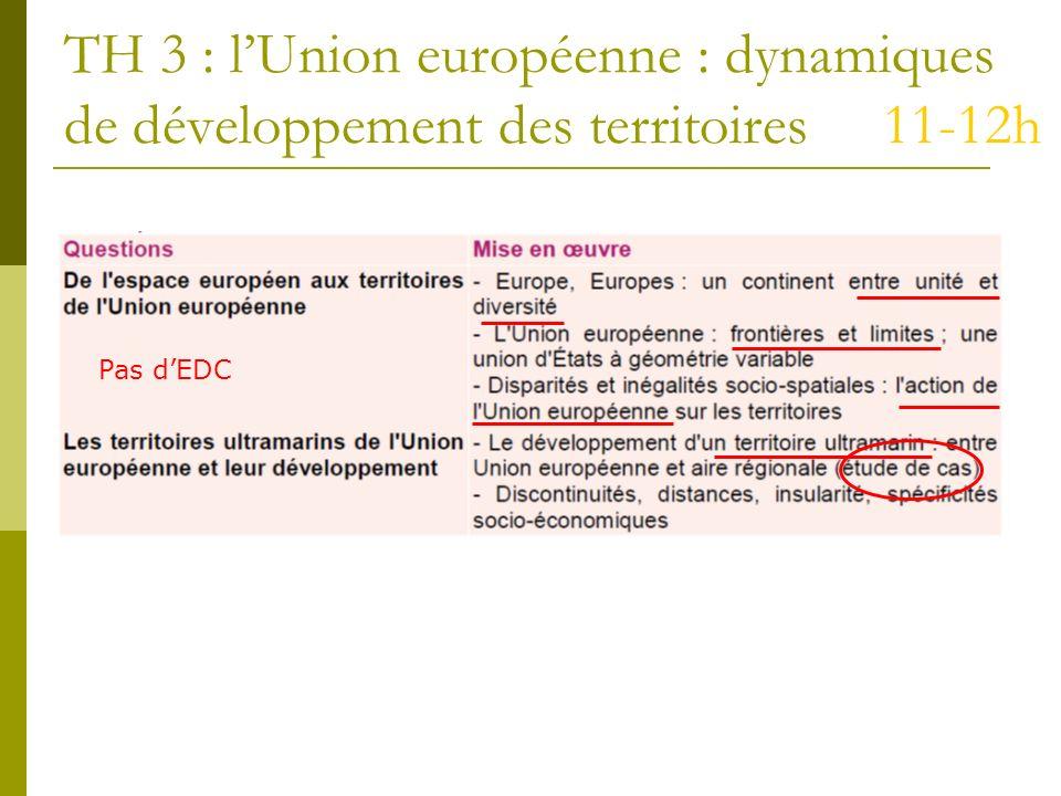 TH 3 : lUnion européenne : dynamiques de développement des territoires 11-12h Pas dEDC