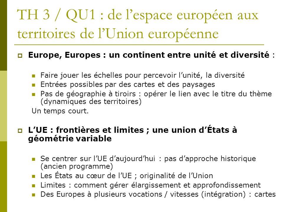 TH 3 / QU1 : de lespace européen aux territoires de lUnion européenne Europe, Europes : un continent entre unité et diversité : Faire jouer les échell