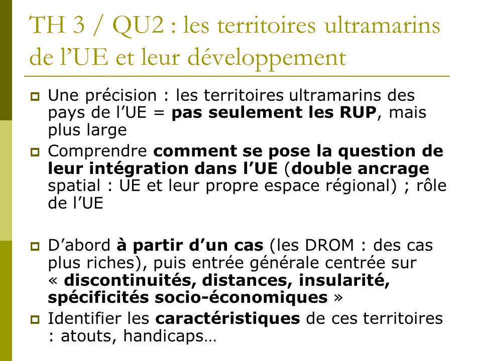 TH 3 / QU2 : les territoires ultramarins de lUE et leur développement Une précision : les territoires ultramarins des pays de lUE = pas seulement les