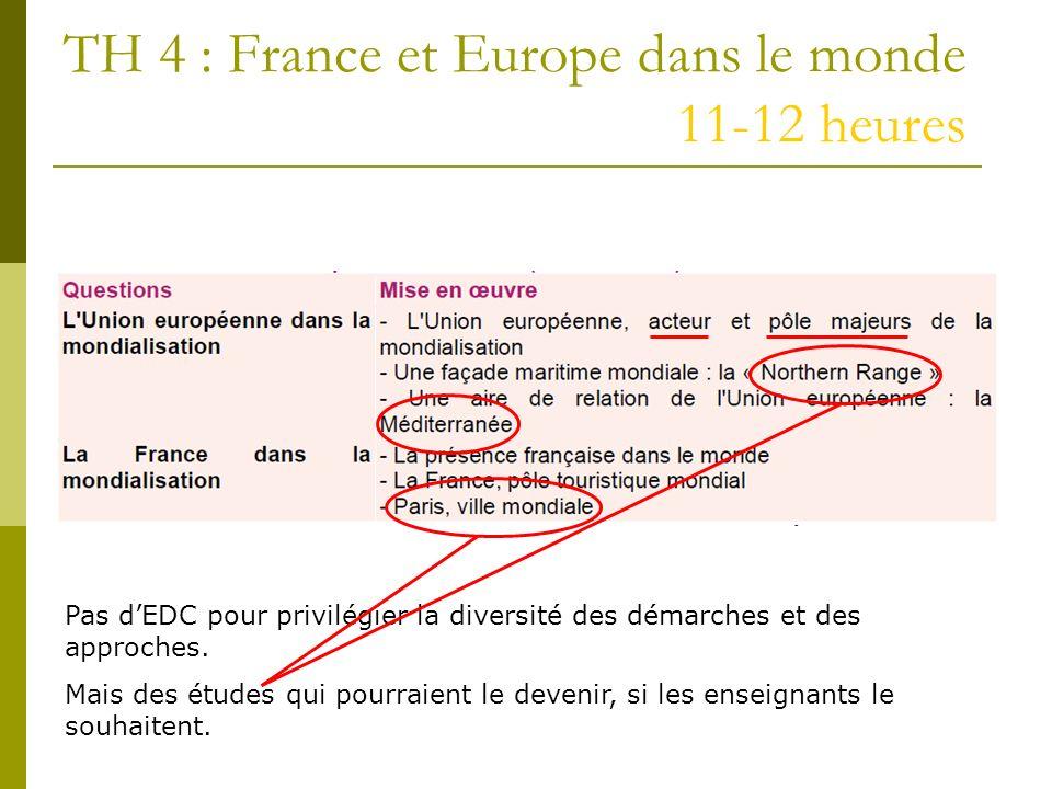TH 4 : France et Europe dans le monde 11-12 heures Pas dEDC pour privilégier la diversité des démarches et des approches. Mais des études qui pourraie