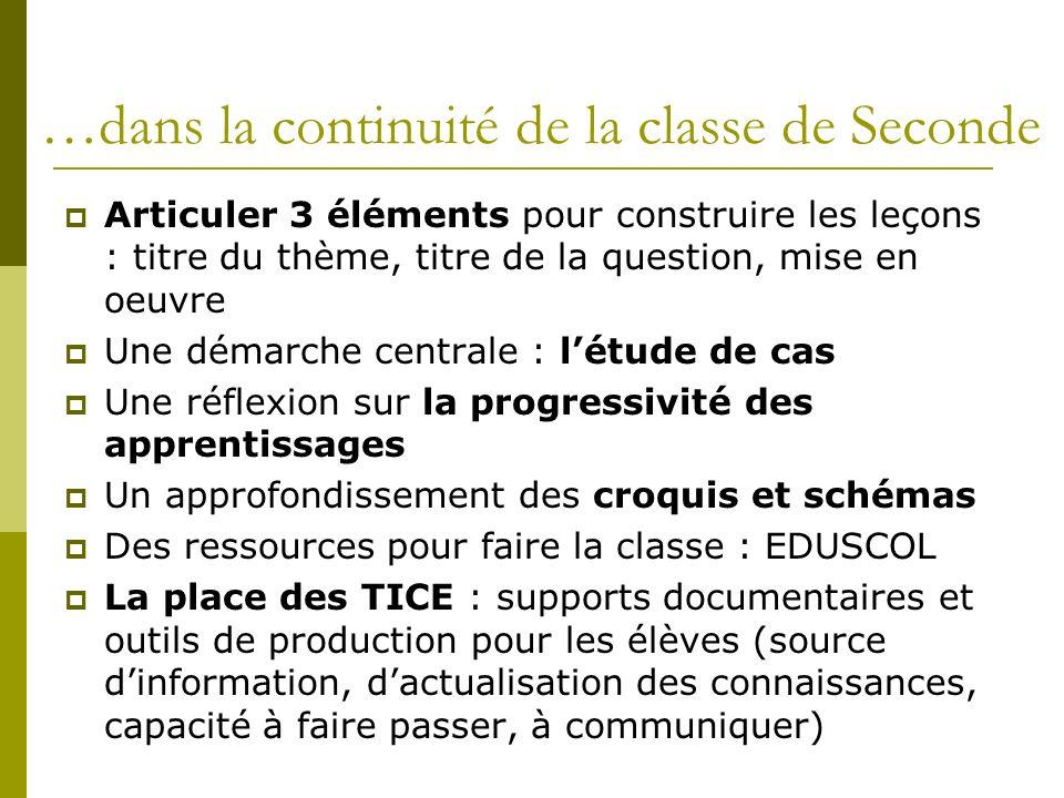 …dans la continuité de la classe de Seconde Articuler 3 éléments pour construire les leçons : titre du thème, titre de la question, mise en oeuvre Une