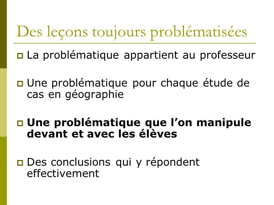 Des leçons toujours problématisées La problématique appartient au professeur Une problématique pour chaque étude de cas en géographie Une problématiqu