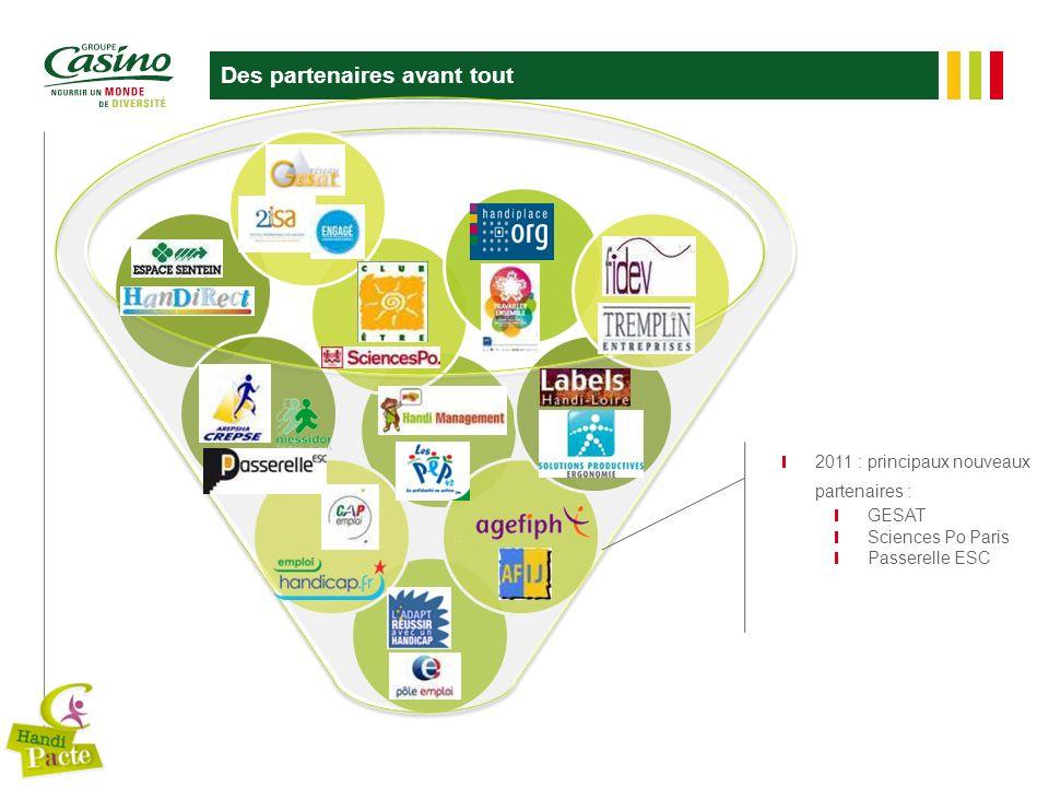 Des partenaires avant tout 2011 : principaux nouveaux partenaires : GESAT Sciences Po Paris Passerelle ESC