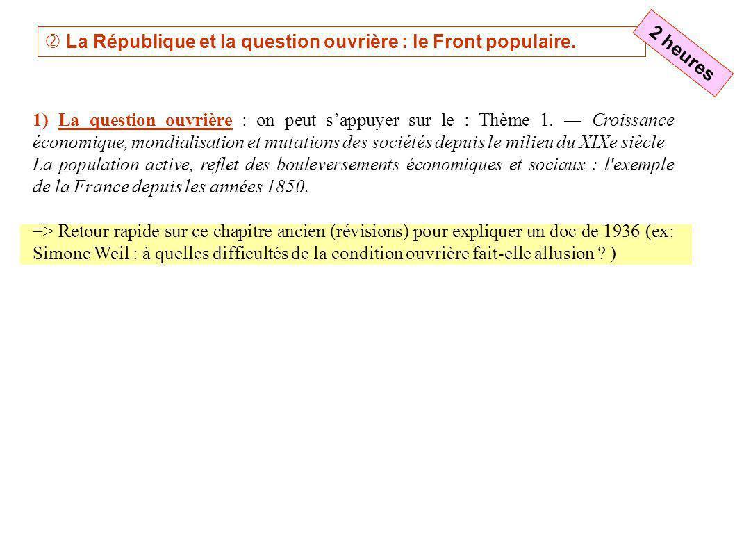 La République et la question ouvrière : le Front populaire. 1) La question ouvrière : on peut sappuyer sur le : Thème 1. Croissance économique, mondia
