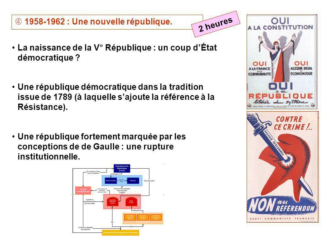 1958-1962 : Une nouvelle république. La naissance de la V° République : un coup dÉtat démocratique ? Une république démocratique dans la tradition iss