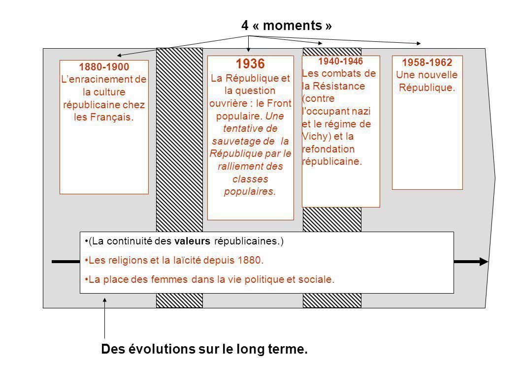 1880-1900 Lenracinement de la culture républicaine chez les Français. 1958-1962 Une nouvelle République. (La continuité des valeurs républicaines.) Le