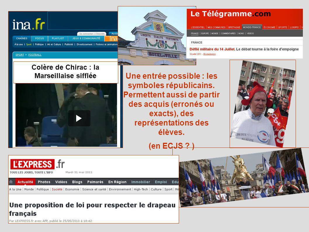 Colère de Chirac : la Marseillaise sifflée Une entrée possible : les symboles républicains. Permettent aussi de partir des acquis (erronés ou exacts),