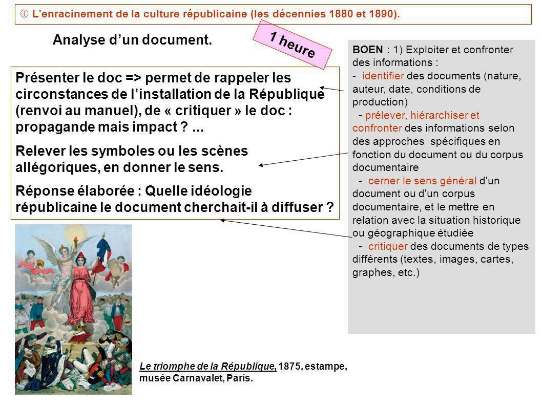 BOEN : 1) Exploiter et confronter des informations : - identifier des documents (nature, auteur, date, conditions de production) - prélever, hiérarchi