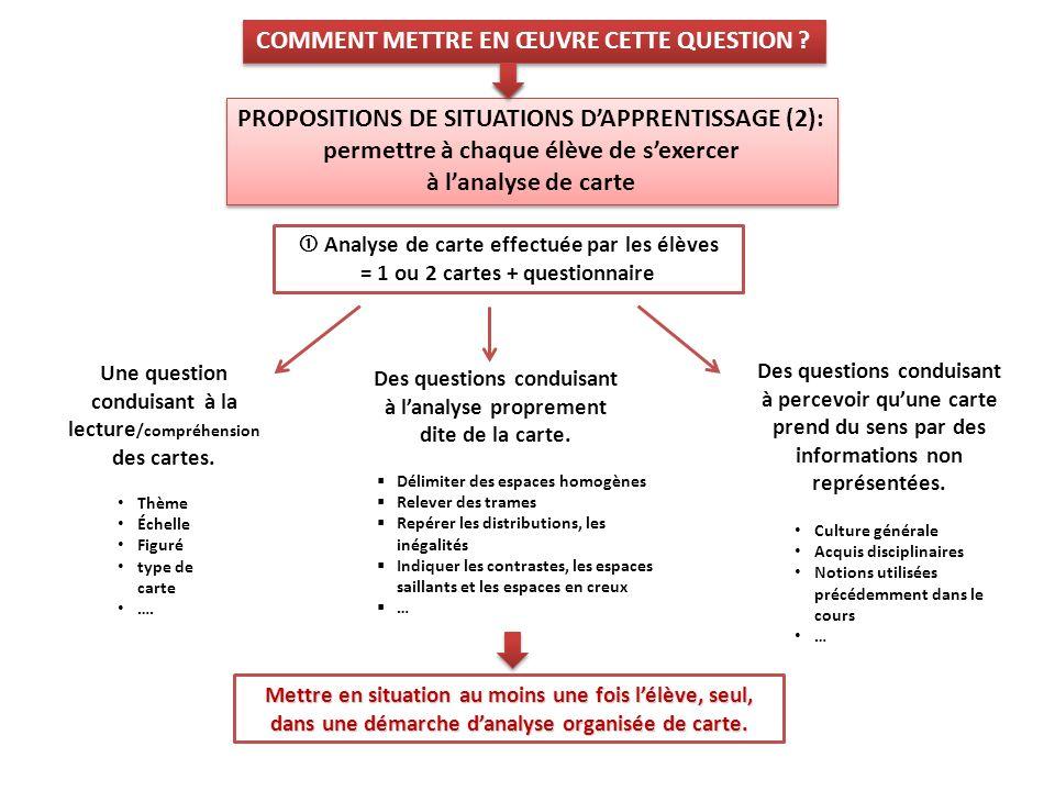 Analyse de carte effectuée par les élèves = 1 ou 2 cartes + questionnaire Mettre en situation au moins une fois lélève, seul, dans une démarche danaly