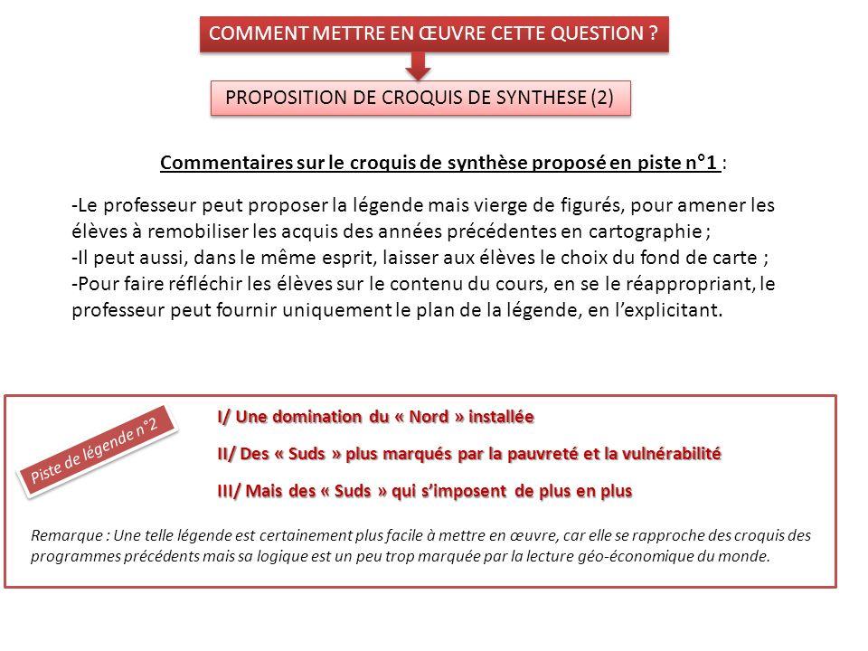 PROPOSITION DE CROQUIS DE SYNTHESE (2) COMMENT METTRE EN ŒUVRE CETTE QUESTION ? I/ Une domination du « Nord » installée II/ Des « Suds » plus marqués