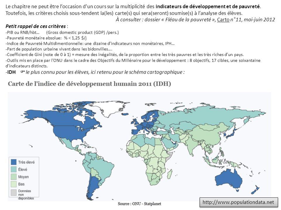 http://www.populationdata.net Le chapitre ne peut être loccasion dun cours sur la multiplicité des indicateurs de développement et de pauvreté. Toutef
