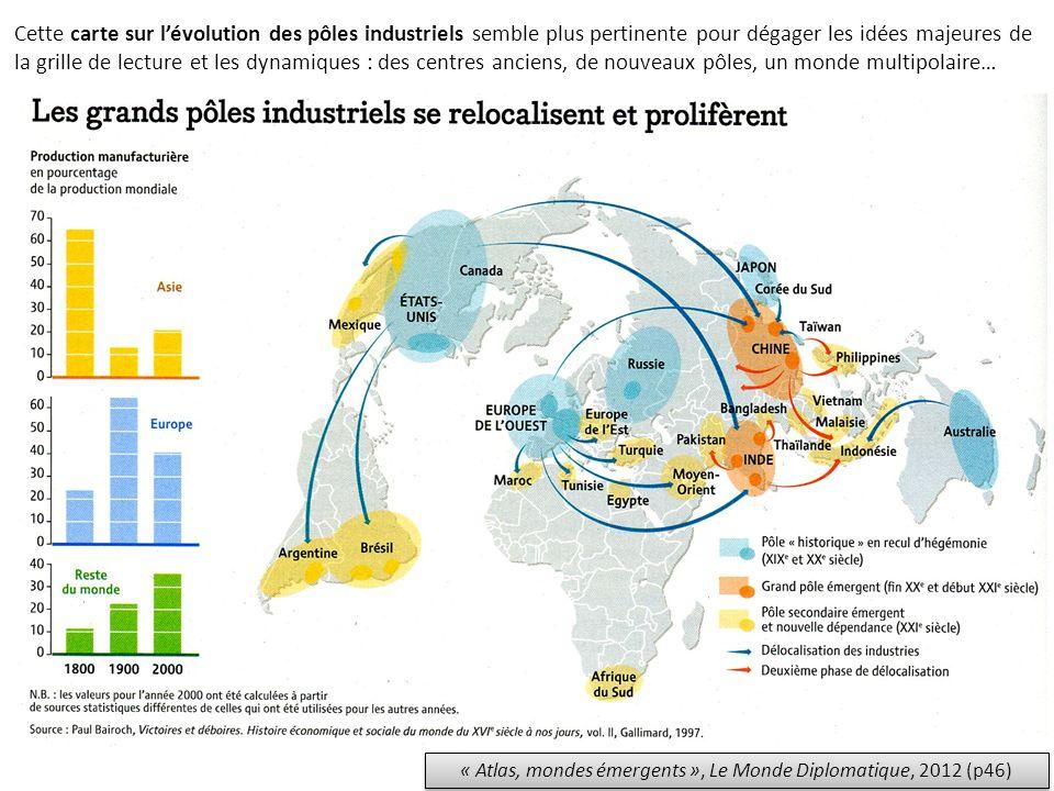 « Atlas, mondes émergents », Le Monde Diplomatique, 2012 (p46) Cette carte sur lévolution des pôles industriels semble plus pertinente pour dégager le