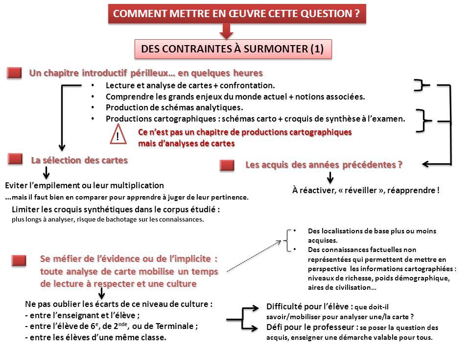 DES CONTRAINTES À SURMONTER (1) COMMENT METTRE EN ŒUVRE CETTE QUESTION ? Eviter lempilement ou leur multiplication … mais il faut bien en comparer pou
