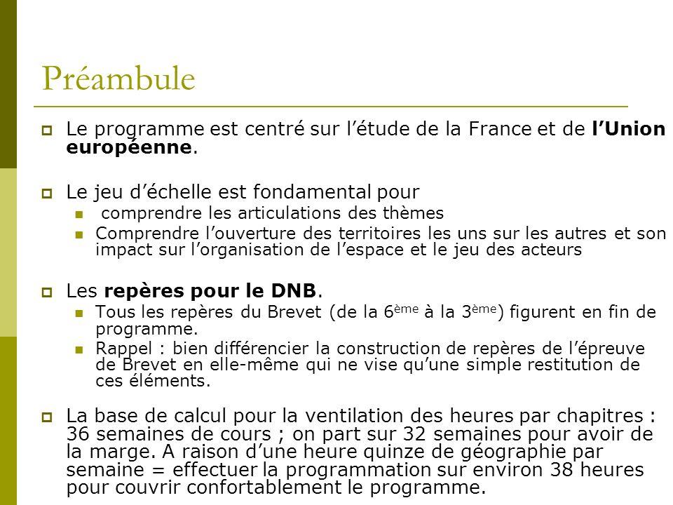 Préambule Le programme est centré sur létude de la France et de lUnion européenne. Le jeu déchelle est fondamental pour comprendre les articulations d