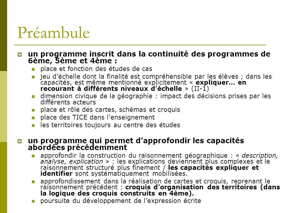 un programme inscrit dans la continuité des programmes de 6ème, 5ème et 4ème : place et fonction des études de cas jeu déchelle dont la finalité est c