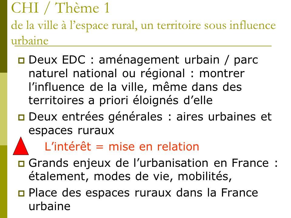 Deux EDC : aménagement urbain / parc naturel national ou régional : montrer linfluence de la ville, même dans des territoires a priori éloignés delle