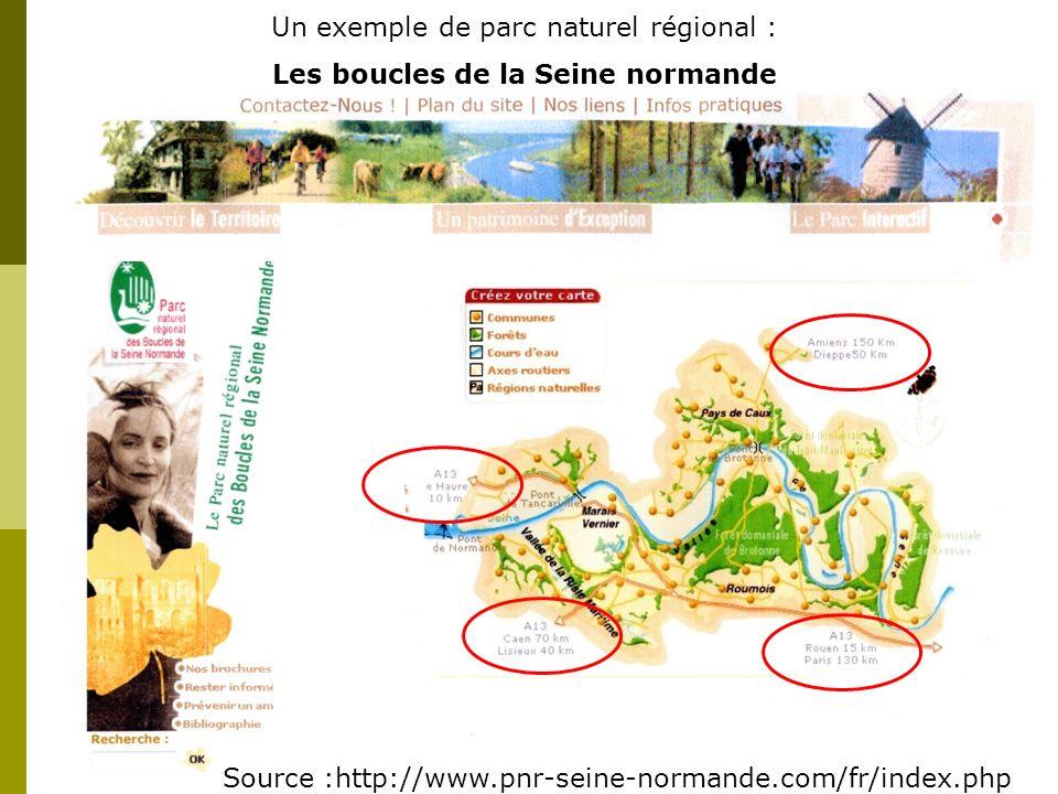 Un exemple de parc naturel régional : Les boucles de la Seine normande Source :http://www.pnr-seine-normande.com/fr/index.php