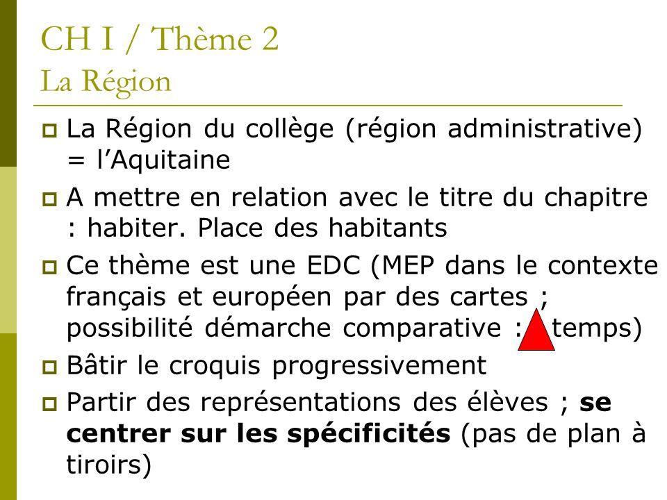 La Région du collège (région administrative) = lAquitaine A mettre en relation avec le titre du chapitre : habiter. Place des habitants Ce thème est u