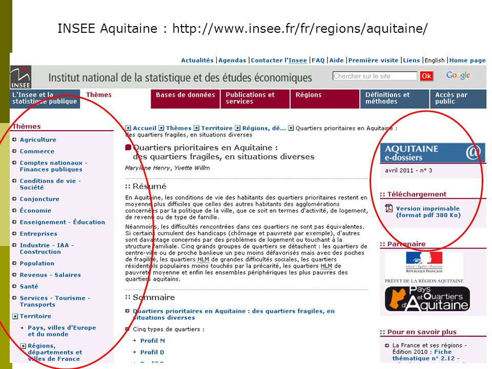 INSEE Aquitaine : http://www.insee.fr/fr/regions/aquitaine/