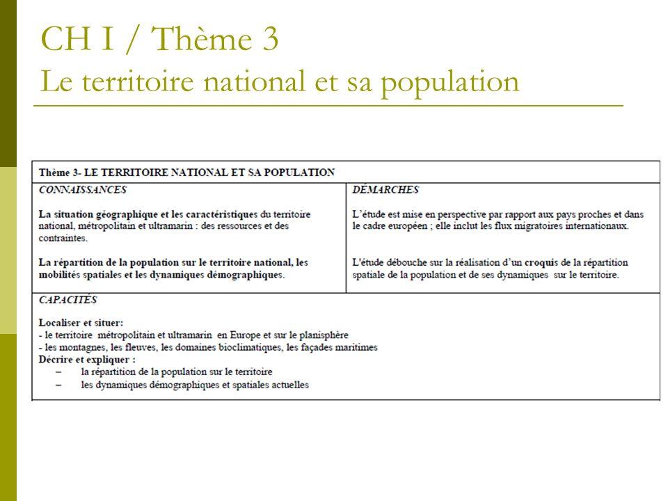 CH I / Thème 3 Le territoire national et sa population