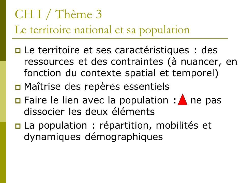 Le territoire et ses caractéristiques : des ressources et des contraintes (à nuancer, en fonction du contexte spatial et temporel) Maîtrise des repère