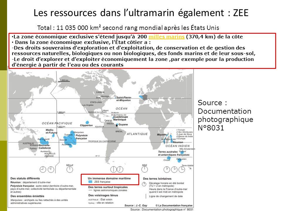Les ressources dans lultramarin également : ZEE Total : 11 035 000 km² second rang mondial après les États Unis La zone économique exclusive s'étend j