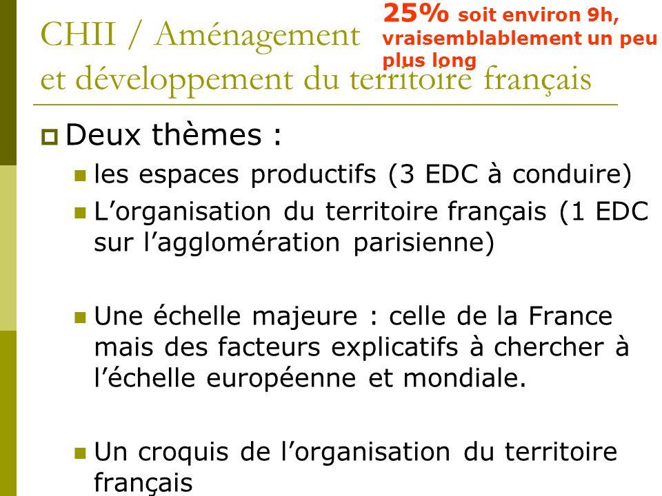 CHII / Aménagement et développement du territoire français 25% soit environ 9h, vraisemblablement un peu plus long Deux thèmes : les espaces productif