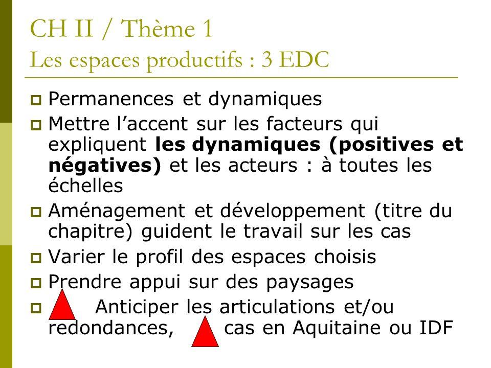 CH II / Thème 1 Les espaces productifs : 3 EDC Permanences et dynamiques Mettre laccent sur les facteurs qui expliquent les dynamiques (positives et n