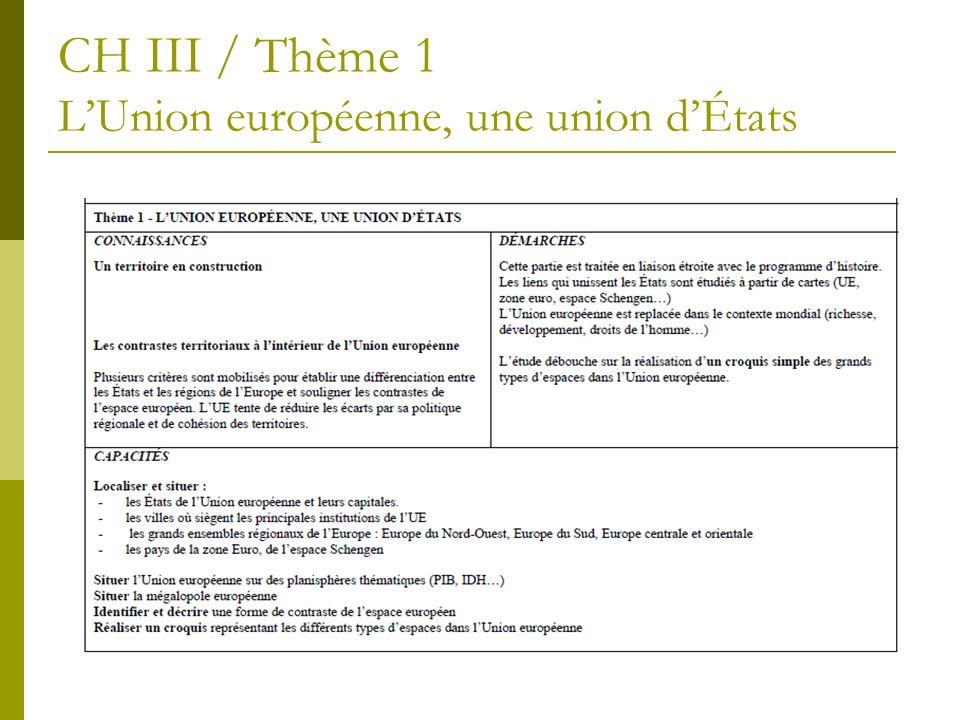 CH III / Thème 1 LUnion européenne, une union dÉtats