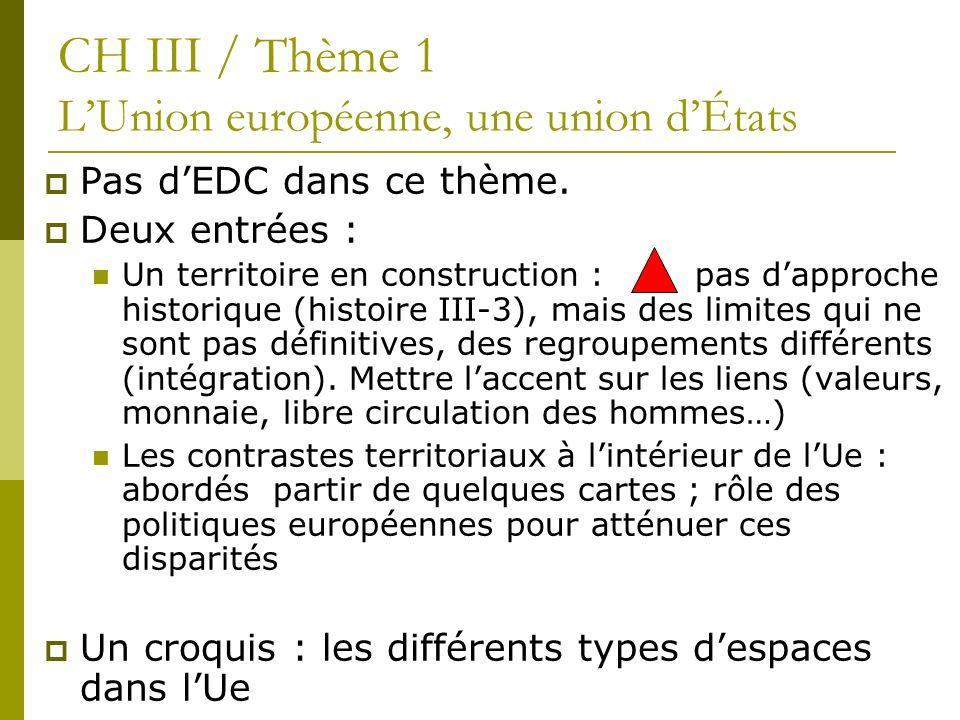 Pas dEDC dans ce thème. Deux entrées : Un territoire en construction : pas dapproche historique (histoire III-3), mais des limites qui ne sont pas déf