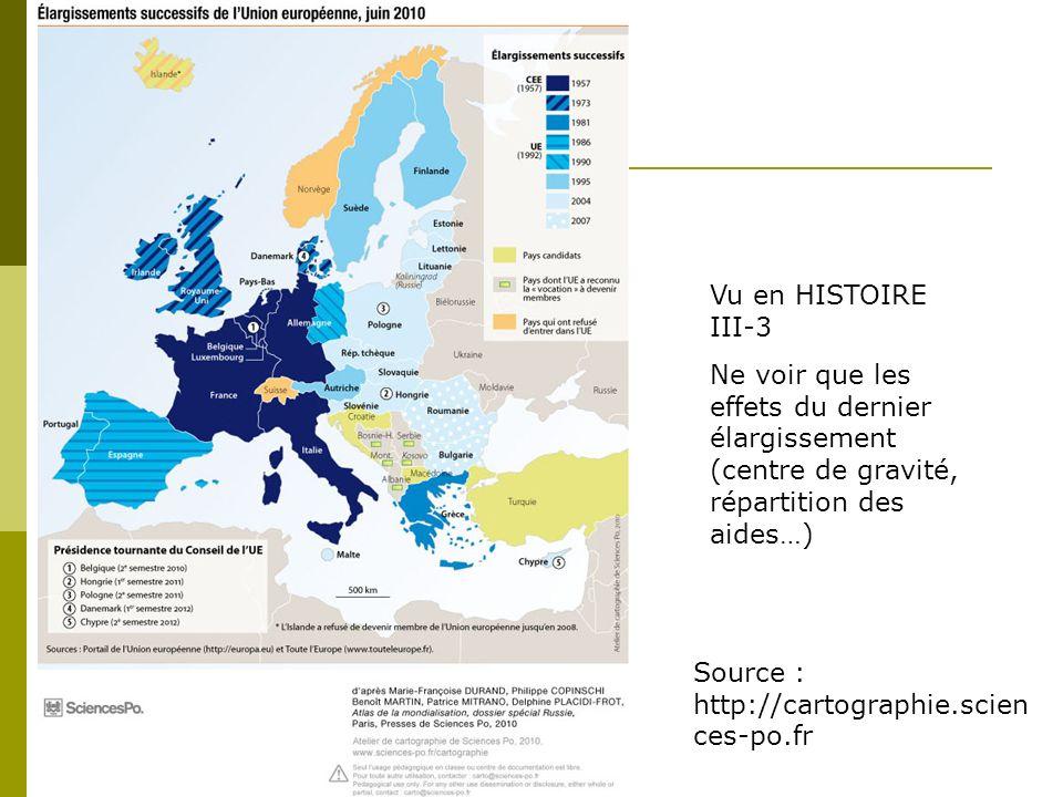 Vu en HISTOIRE III-3 Ne voir que les effets du dernier élargissement (centre de gravité, répartition des aides…) Source : http://cartographie.scien ce
