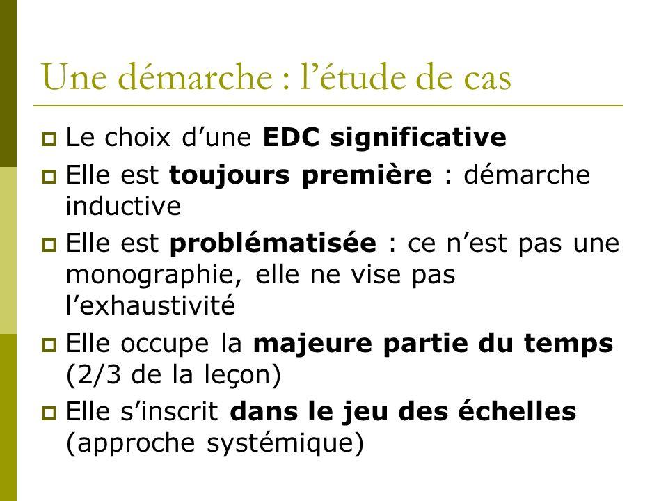 Une démarche : létude de cas Le choix dune EDC significative Elle est toujours première : démarche inductive Elle est problématisée : ce nest pas une