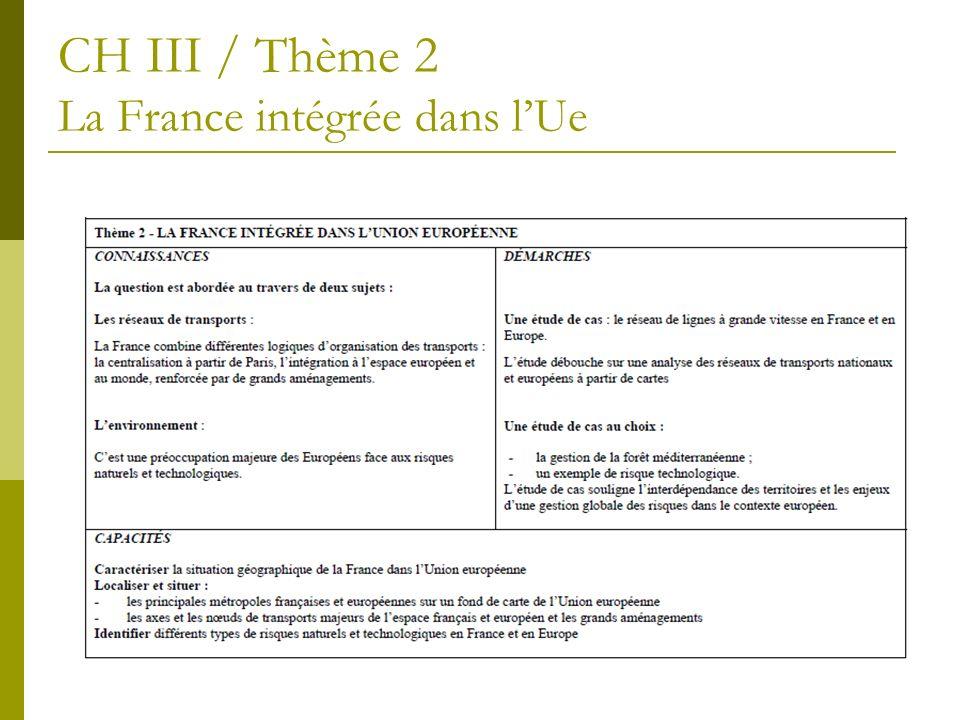 CH III / Thème 2 La France intégrée dans lUe