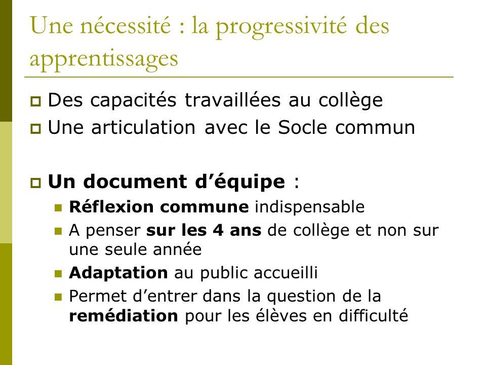 Une nécessité : la progressivité des apprentissages Des capacités travaillées au collège Une articulation avec le Socle commun Un document déquipe : R