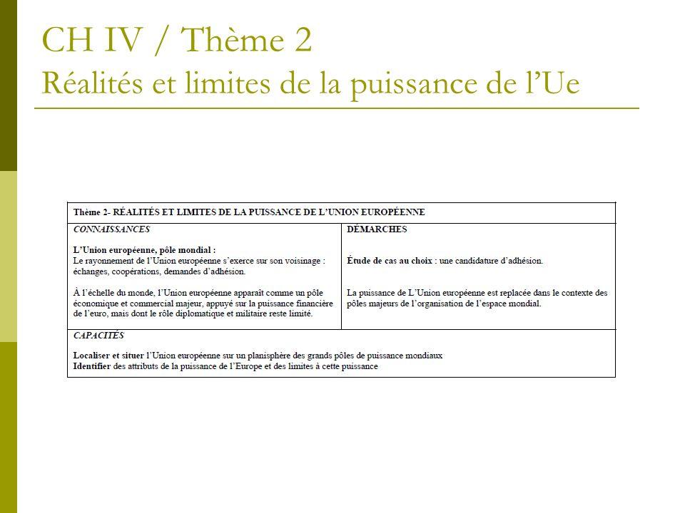 CH IV / Thème 2 Réalités et limites de la puissance de lUe