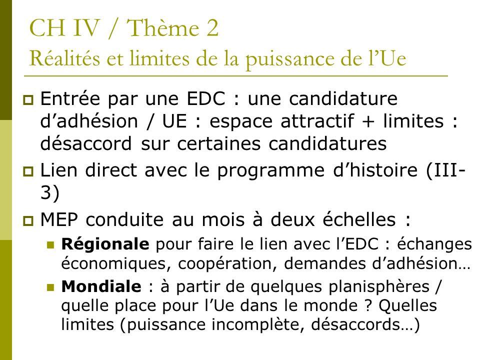 Entrée par une EDC : une candidature dadhésion / UE : espace attractif + limites : désaccord sur certaines candidatures Lien direct avec le programme