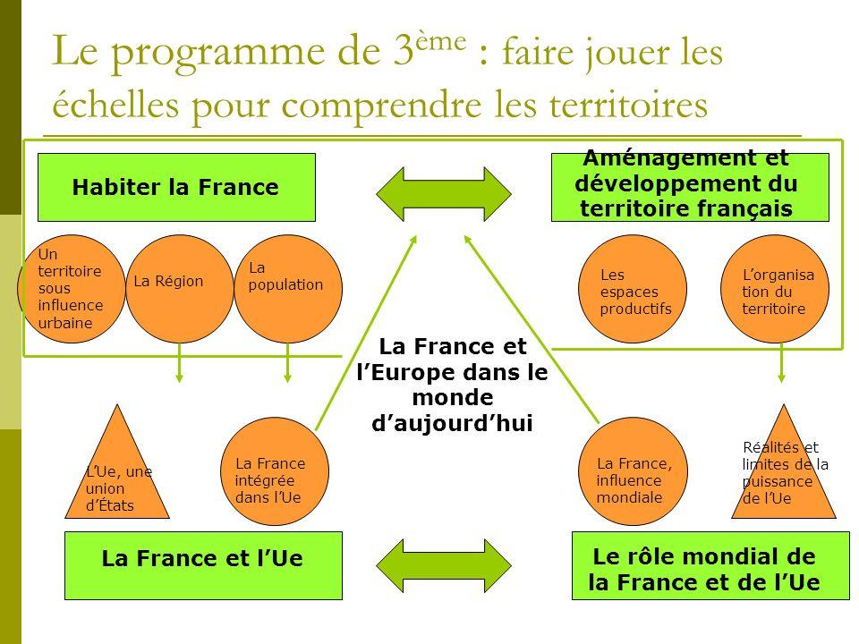 Le programme de 3 ème : faire jouer les échelles pour comprendre les territoires La France et lEurope dans le monde daujourdhui Habiter la France Un t