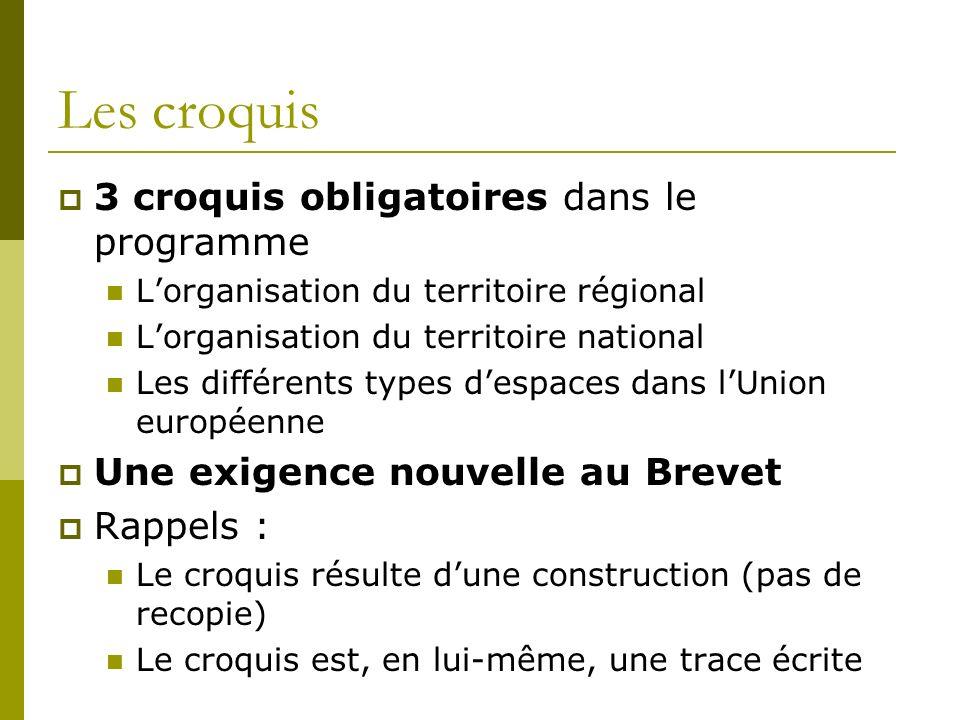 Les croquis 3 croquis obligatoires dans le programme Lorganisation du territoire régional Lorganisation du territoire national Les différents types de