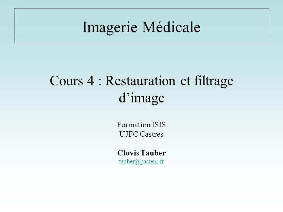 Cours 4 : Restauration et filtrage dimage Formation ISIS UJFC Castres Clovis Tauber tauber@pasteur.fr Imagerie Médicale