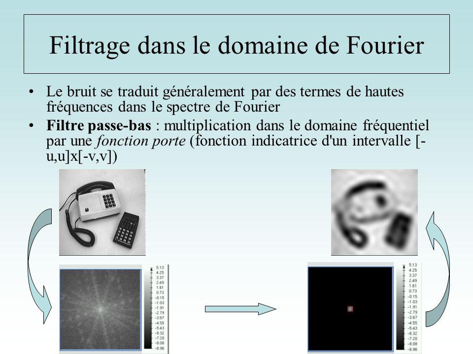 Le bruit se traduit généralement par des termes de hautes fréquences dans le spectre de Fourier Filtre passe-bas : multiplication dans le domaine fréq