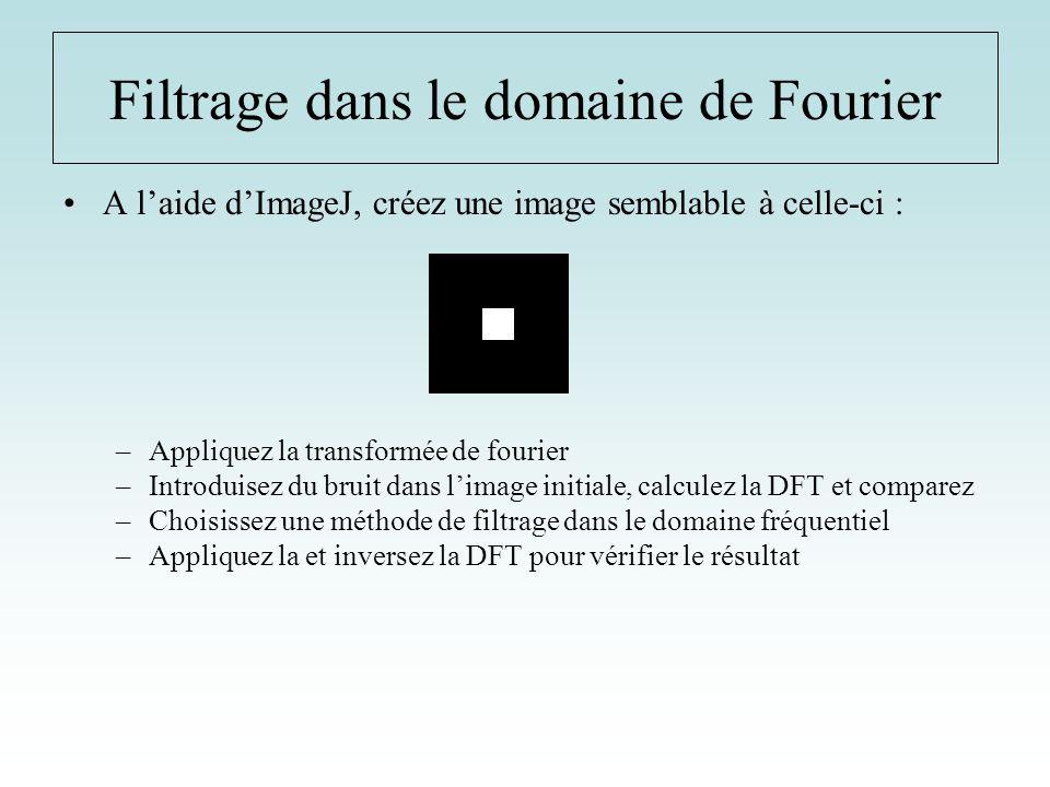 A laide dImageJ, créez une image semblable à celle-ci : –Appliquez la transformée de fourier –Introduisez du bruit dans limage initiale, calculez la D