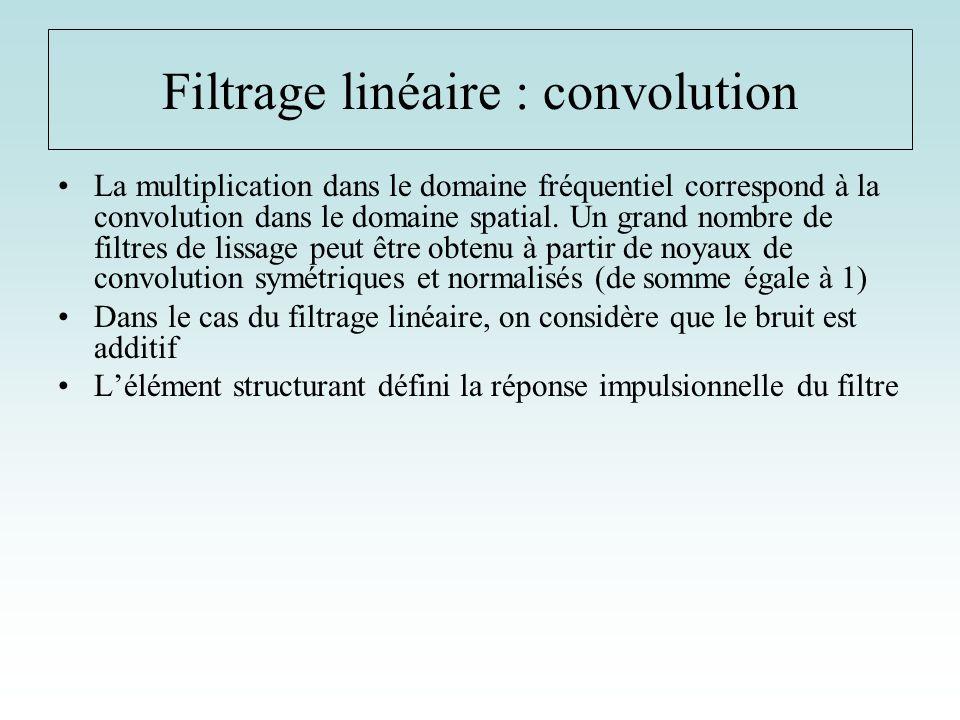 La multiplication dans le domaine fréquentiel correspond à la convolution dans le domaine spatial. Un grand nombre de filtres de lissage peut être obt