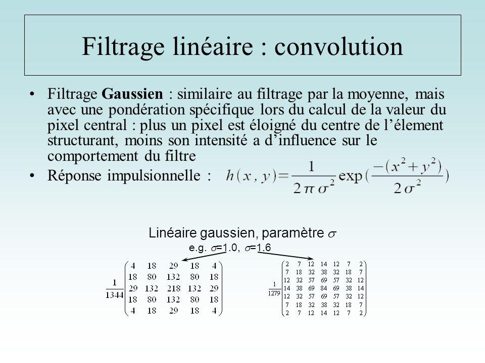 Filtrage Gaussien : similaire au filtrage par la moyenne, mais avec une pondération spécifique lors du calcul de la valeur du pixel central : plus un